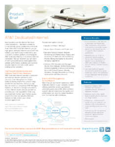 AT&T Product Brief High Speed Internet Access and Options That Fit Your Business